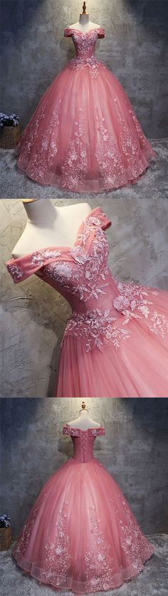 Pink sweetheart tulle lace applique long prom gown, sweet 16 dress, pink evening dress