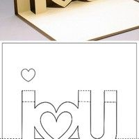 Simple DIY: I Love U card Diy Cards Pop Up, Love Pop Up Cards, Diy Cards Love, Diy Cards For Mom, Diy Gift Cards, Pop Up Valentine Cards, Heart Pop Up Card, Homemade Valentine Cards, Diy For Valentines Day