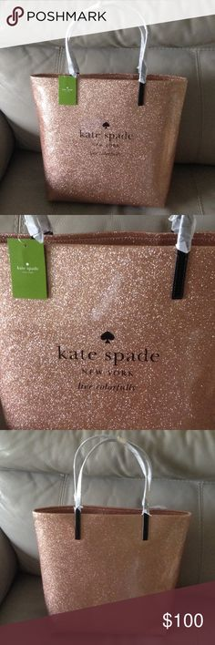 """Kate Spade Holiday Drive Bon Shopper Tote Beautiful, sparkly rose gold glitter tote!  Excellent, new condition, never used. Features Kate Spade New York logo and """"live colorfully"""" on front.  Two interior slide pockets. kate spade Bags Totes"""