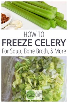 How to freeze celery leaves and leftover celery. Don't throw them out! Instead, try these 2 easy hacks that will save you money and grocery trips. Freezing Vegetables, Frozen Vegetables, Fruits And Veggies, Freezing Fruit, Freezing Celery, Fruits Basket, How To Freeze Celery, How To Freeze Tomatoes, Broccoli