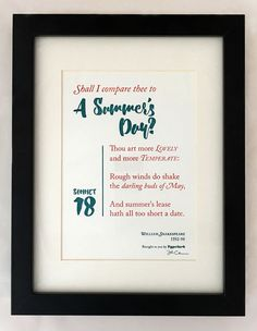 Shakespeare: Sonnet 18 U0027Shall I Compare Thee To A Summeru0027s Day?u0027