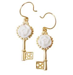 Browse Porcelain Camellia Golden Key Earrings and more from POPORCELAIN at Wolf & Badger - the leading destination for independent designer fashion, jewellery and homewares. Golden Earrings, Golden Jewelry, Sterling Silver Earrings, Chain Earrings, Teardrop Earrings, Golden Key, Holiday Jewelry, Porcelain Jewelry, Jewelry Branding