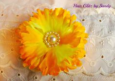 $4.00 Beautiful yellow flower hair clip or pin brooch now available at www.hairglitzbysandy.etsy.com