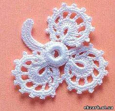 Irish crochet &: Delicate rose for Irish lace Irish Crochet Patterns, Crochet Motifs, Freeform Crochet, Crochet Chart, Thread Crochet, Crochet Leaves, Crochet Flowers, Crochet Bikini Pattern, Irish Lace