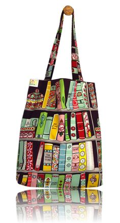 Colourful Books Lined Tote Bag - Handmade in London via Etsy Sewing Projects, Projects To Try, Tote Bags Handmade, Reusable Tote Bags, London, Books, Creative, Fabric, Fun