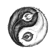 Creative design for a tattoo, that image represent Ying Yan in the shape of peacock feather.