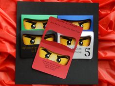 Ninjago inspired Birthday Party Invitations | Ninjago Birthday Party Invites  Handmade Ninjago inspired Birthday Party invitations will WOW{!} your little Spin Master and his fellow Ninjas. These are personalized for you and your Spin Masters event. This invitation measures 5 1/8 x 4, is custom printed in assorted colors and comes with blank white envelopes. You may order one color if you like and envelope printing with a return address is available, just ask me!  IF YOU FOUND THIS LISTI...
