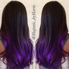 Bildresultat för dark hair part color purple