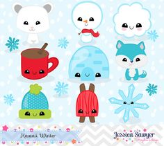 Winter Kawaii Clipart for personal and commercial use crafts and products.