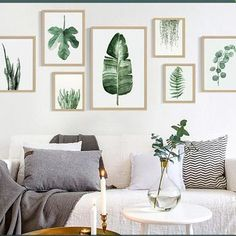 Wall Hangings Green Fresh Plant Leaf Canvas Print Wall Picture Home Sofa Modern Nordic Decor & Garden Leaf Wall Art, Wall Art Decor, Leaf Art, Green Wall Art, Canvas Wall Art, Wall Art Prints, Hanging Canvas, Canvas Prints, European Home Decor