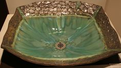 RecRock Handmade Custom Vessel Sink in green, blue, metallic brown. $595.00, via Etsy.