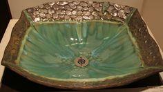 RecRock Handmade Custom Vessel Sink  in green, blue, metallic brown. $595.00, via Etsy.