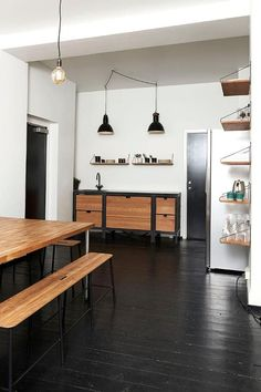 """A simple but stylish kitchenette at the offices of magazine Soundvenue by Danish design studio  Frama. """"Designed to be a free standing element in a space without mounting to any walls or floors, the Frama Kitchen portrays the light expression of a piece of furniture within the kitchen environment."""""""