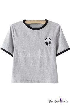Alien Embroidery Color Block Short Sleeve Cropped Tee - Beautifulhalo.com