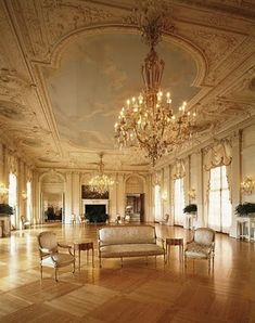 Interior Ballroom at the American Gilded Age mansion, Rosecliff, Newport, RI. Constructed from to by NYC architect Stanford White. Mansion Homes, Mansion Interior, Interior Exterior, Interior Design, Mansion Bedroom, Beautiful Interiors, Beautiful Homes, Classic Interior, Country Interior