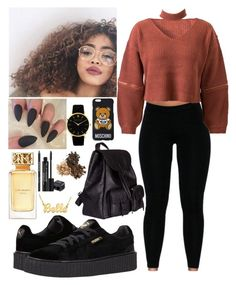 """"""""""" by aaliyahlee ❤ liked on Polyvore featuring Kenzie, WithChic, Puma, Yves Saint Laurent, Moschino, Rodial and Tory Burch"""