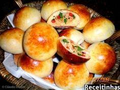 Receita Pãozinho de batata recheado com frango e catupiry