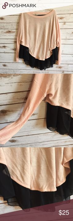 💗Lauren Conrad color block tulle hem sweater top Size large. Peach lightweight sweater with black tulle asymmetric hem. Ribbed dolman sleeves. EUC  💟Fast 1-2 day shipping 💟Reasonable offers accepted 💟Purchase 3 or more items & get a special bundle rate!  💟Smoke-free home LC Lauren Conrad Sweaters Crew & Scoop Necks