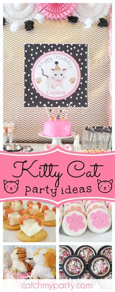 Take a look at this Adorable Kitty Cat Party. The dessert table is so pretty!! See more party ideas and share yours at CatchMyParty.com #cat #girlbirthday