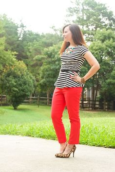 Peplum t-shirts and bright jeans are a stylish way to be doing jeans and a t-shirt