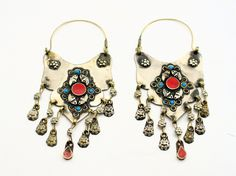 Afghan turquoise and coral earring,Turquoise jewelry,Kuchi earring,Ethnic earrings,Tribal earring,Hoop earrings,Gift for her,Free shipping. by ZsTribalTreasures on Etsy