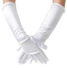 Kids Satin Short Gloves Kids Flower Girl Dress Gloves Kids Gift Fancy Dress