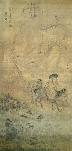 (Korea) 파안흥취 1778 Folder Screens by Kim Hong do (1745-1806). color on paper. National Museum of Korea.