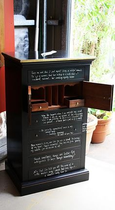Chest of drawers given the blackboard treatment. Totally doin this for my nieces! (and maybe myself lol)