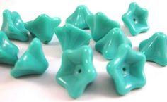 Czech Glass Beads  Opaque Turquoise  8x13mm  by beadbarnsupplies, $2.55