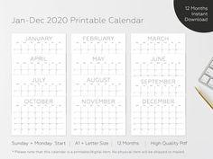 2020 Printable Calendar 2020 Large Wall Calendar 2020 Big | Etsy Chalkboard Wall Calendars, Large Wall Calendar, Cute Calendar, Desk Calendars, Printable Calendar 2020, 2021 Calendar, Danish Oil Finish, Monthly Planner, Letter Size
