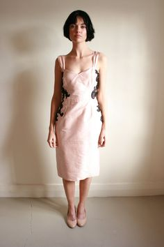 Pastel Pink Cocktail dress with black lace by NatalieChanBoutique