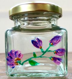 Designer Hand Painted Glass Purple Flower Jar by HandPaintedJar on Etsy