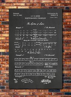 Morse Code Patent Print Art 1840 (multiples sizes and colors available), Code Art, Morse Code Bracelet, Us Patent, Great Inventions, Patent Prints, How To Treat Acne, Handmade Crafts, Craft Gifts, Chalkboard