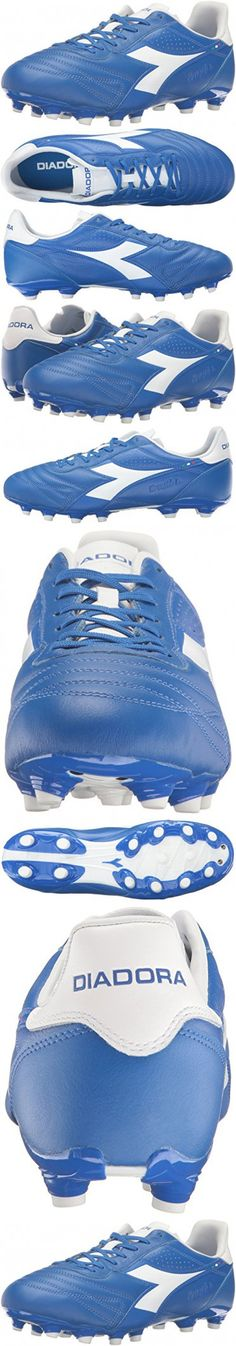 Diadora Men's Brasil K Plus MG 14 Soccer Shoe, Royal/White, 10.5 M US