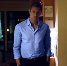it's no blue cashmere sweater, but I'm digging the business man casual. Skarsgard Brothers, Skarsgard Family, Bill Skarsgard, Joseph Morgan, Business Casual Men, Men Casual, Alex The Great, Alex Pics, Eric Northman
