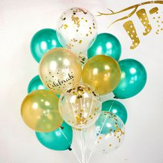 Christmas tree confetti gold & green balloons, set of 16/24 :-) ready to inflate - AU Free shipping