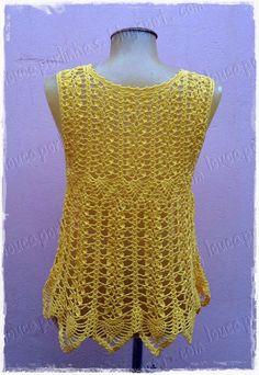 """louca por linhas - crochet e patchwork: Regata """"amarelo-manga"""""""