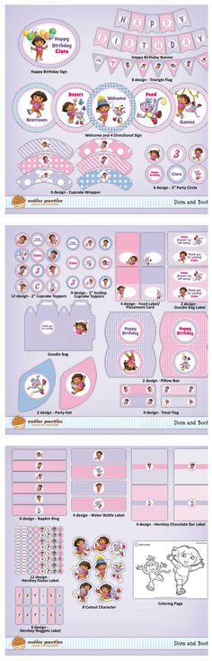 Dora Party Kit in pink and light purple http://cutiesparties.blogspot.com/2012/02/dora-and-boots-printable-birthday-party.html