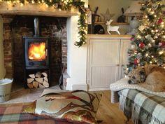 Hollyhock Cottage & Winston the dog - a Border Terrier! Cosy Christmas, Cottage Christmas, Christmas Home, English Christmas, Cottage Lounge, Cozy Cottage, Cosy Cottage Living Room, Cottage Ideas, Cottage Style