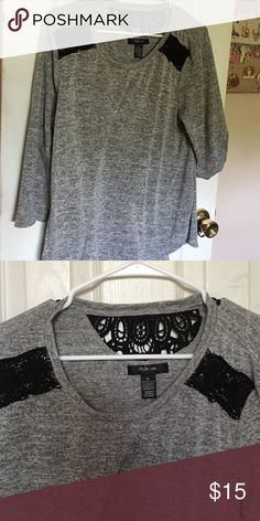 Gray and black style and co. Blouse Gray style and co blouse with black lace embellishments. Top is a very light sweatshirt material. Very soft. Style & Co Tops Blouses