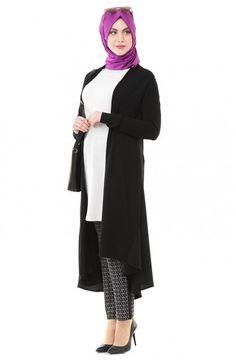 Kayra Long Cardigan Sweater-Black Ka-A5-TRK33-12
