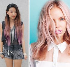 coloured hair Blonde With Pink, Brown To Blonde, Brown Hair, I Like Your Hair, Hair Dye Tips, Pink Highlights, Hair Color And Cut, Coloured Hair, Cut And Style