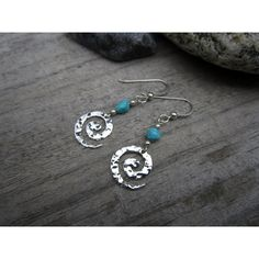 Sterling Hammered Spiral Earrings with Turquoise Charm Earrings ($32) ❤ liked on Polyvore featuring jewelry and earrings