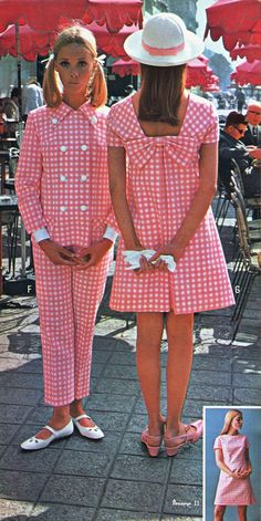 Pennys 67 ss pink gingham All sizes 60s And 70s Fashion, Seventies Fashion, Mod Fashion, Vintage Fashion, 1960s Fashion Women, Sporty Fashion, Gothic Fashion, Style Fashion, Womens Fashion