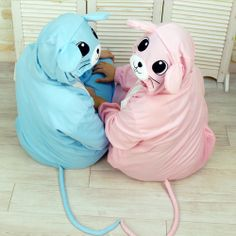 Blue and Pink Mouse Kigurumi Onesie