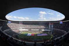 Nov 19, 2017; Mexico City, MEX; General view of Estadio Azteca during the playing of the United States and Mexican national anthems before an NFL International Series game between the New England Patriots and the Oakland Raiders. Mandatory Credit: Kirby Lee-USA TODAY Sports — at Estadio Azteca.