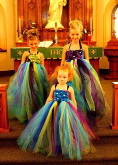 peacock bridesmaid dresses | peacock flowergirl dresses for my wedding | WEDDING IDEAS