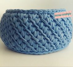 T SHIRT YARN BASKET - Crocheting Journal