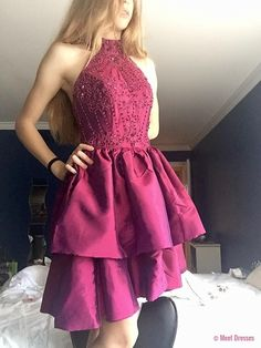 High Collar Homecoming Dresses, Ruffled Fuchsia Knee Length Homecoming Dresses,2018 Beaded Party Dresses for Junior PD20185983