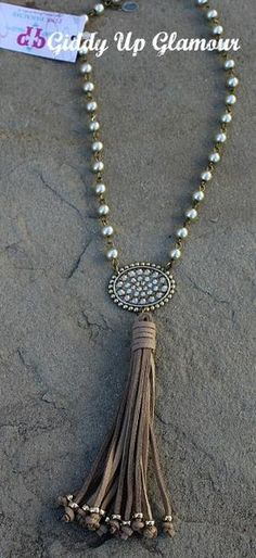 Pink Panache Short Champagne Pearl Necklace with Bronze Oval with Topaz Crystals and Tassel